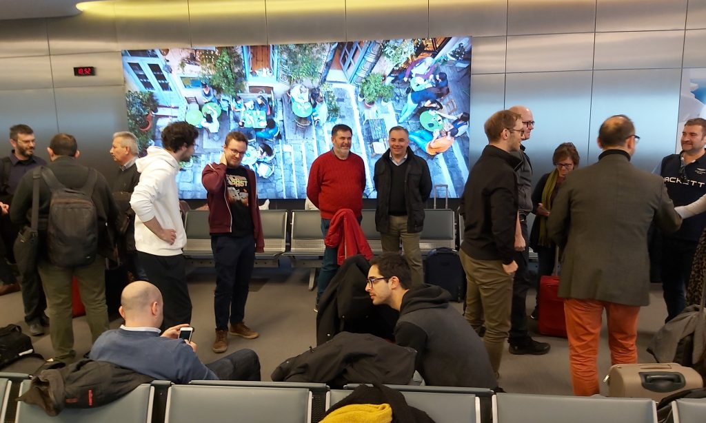 See Far team members at the airport of Athens - Smart glasses